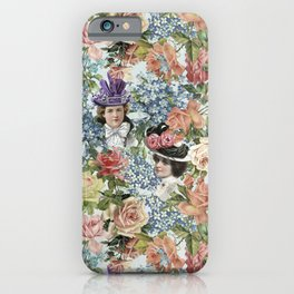 Vintage & Shabby Chic - Vintage Botanical Flower Lady with Hut Pattern iPhone Case