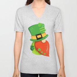 Saint Patrick's Day Gnome, Gnome With Orange Beard Unisex V-Neck