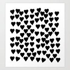Hearts Black and White Art Print