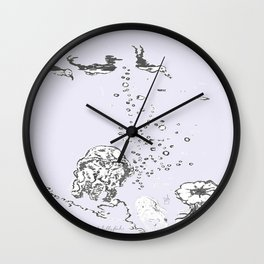 Two Tailed Duck and Jellyfish Lavender Wall Clock