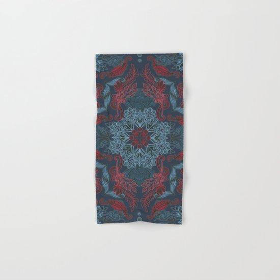 Vintage Fancy - a Pattern in Deep Teal & Red Hand & Bath Towel