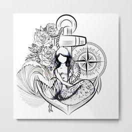Mermaid & Anchor Metal Print