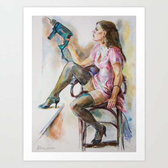 girl with a drill Art Print