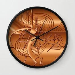 Magical Kokopelli in Burnt Orange Wall Clock