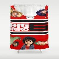 big hero 6 Shower Curtains featuring BIG HERO 6, FILMS,MOVIE by ira gora
