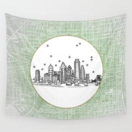 Philadelphia, Pennsylvania City Skyline Illustration Drawing Wall Tapestry