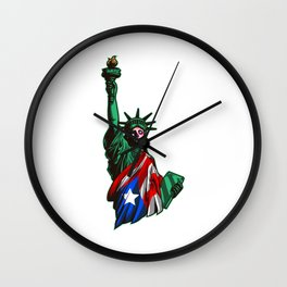 Proud To Be Puerto Rican American - Statue Of Liberty Wall Clock