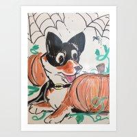 Corgi Halloween Art Print