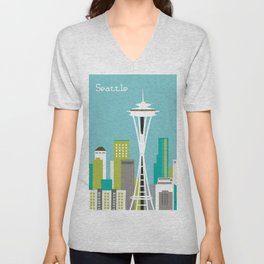 Seattle, Washington - Skyline Illustration by Loose Petals Unisex V-Neck