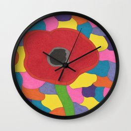 Stained Glass Poppy Wall Clock