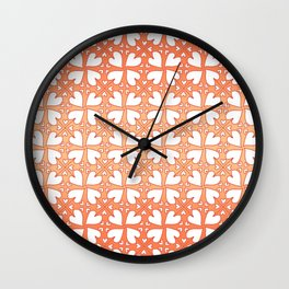 Living Coral Hearts Pattern Wall Clock
