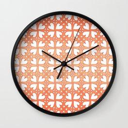 Living Coral Hearts Pattern Wall Clock