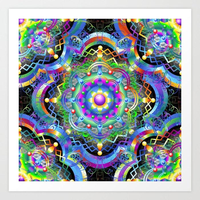 Mandala Psychedelic Art Design Art Print By Bluedarkatlem