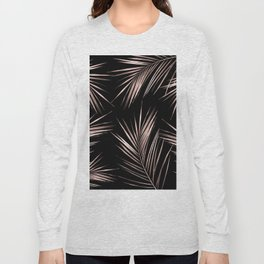 Rosegold Palm Tree Leaves on Midnight Black Long Sleeve T-shirt