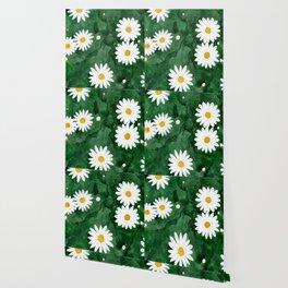 Daises In Emerald Fields Wallpaper