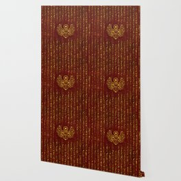 Golden Egyptian Scarab Ornament  on red leather Wallpaper