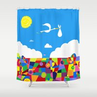 nursery Shower Curtains featuring Up! Nursery Art by foreverwars