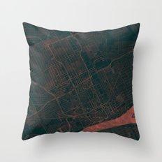 Detroit Map Red Throw Pillow