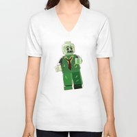 zombie V-neck T-shirts featuring Zombie by Emma Harckham