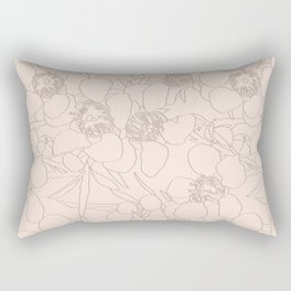 Australian Waxflower Line Floral in Natural Rectangular Pillow