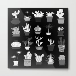 MIX SUCCULENTS2-B&W Metal Print