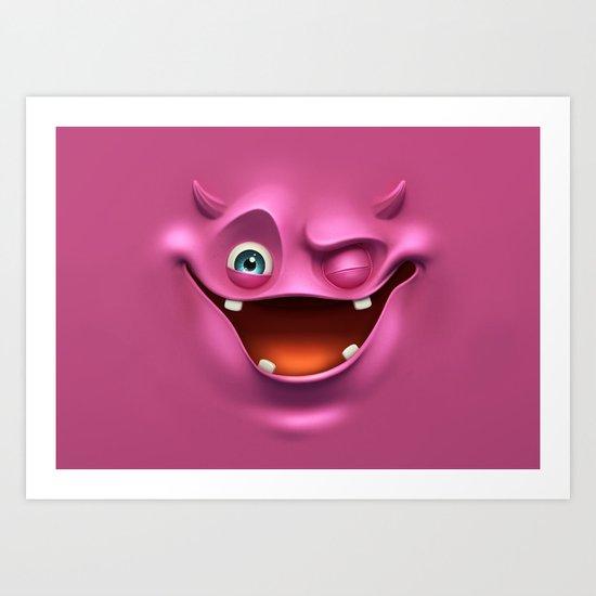 Winking face Art Print