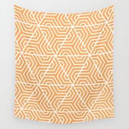 Rajah - orange - Geometric Seamless Triangles Pattern Wall Tapestry