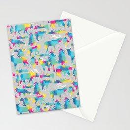 Splashy woodland watercolor Stationery Cards