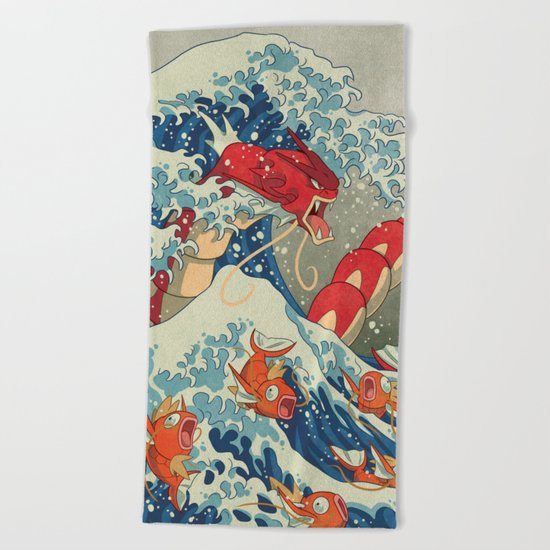 The Great Red Wave Beach Towel