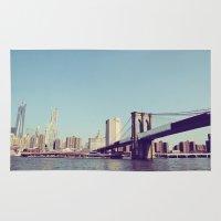 brooklyn bridge Area & Throw Rugs featuring Brooklyn Bridge  by Shilpa