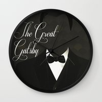 the great gatsby Wall Clocks featuring The Great Gatsby 2 by Erica Chase