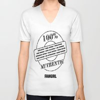fangirl V-neck T-shirts featuring Authentic Fangirl by Off The Path Creative