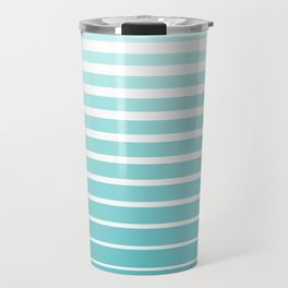 Ombre Stripes - Caribbean Blue and White Travel Mug