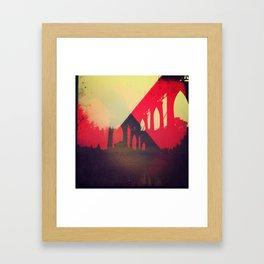bridge view red Framed Art Print