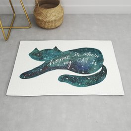 Watercolor galaxy cat – turquoise Rug