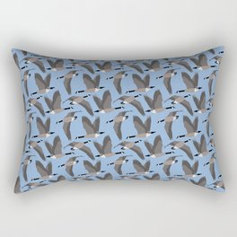 Canada Geese Flying in Blue Rectangular Pillow