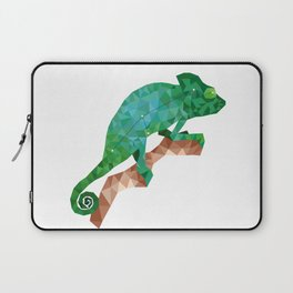 Geometric colorful figure art of green chameleon in polygonal style on white background Laptop Sleeve