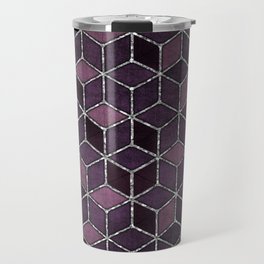 Shades Of Purple & Pink Cubes Pattern Travel Mug
