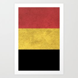 Belgium Flag (Vintage / Distressed) Art Print