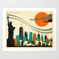 new york skyline Art Prints featuring NEW YORK SKYLINE by Jazzberry Blue