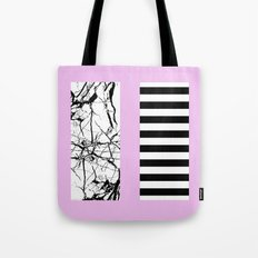 Stripes N Marble 2 - Black and white stripes and marble patterns on a pastel pink background Tote Bag