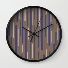 Interrupted Lines Mid-Century Modern Minimalist Pattern in Blue, Purple, Taupe, and Brown Wall Clock