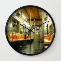 subway Wall Clocks featuring Subway by Bryan McKinney