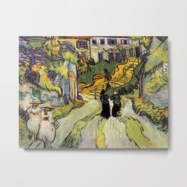 Vincent van Gogh (1853-1890) village street and steps in auvers with figures Metal Print