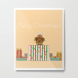 Christmas Yorkshire Terrier (Yorkie) with presents Metal Print