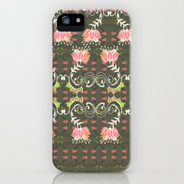 Lotus and some other squiggly lines  iPhone Case