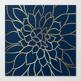 Floral Prints, Line Art, Navy Blue and Gold Canvas Print