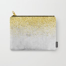 Gold Glitter and Grey Marble texture Carry-All Pouch