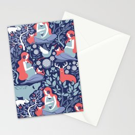 Mother Nature Scandinavian Inspiration // navy background blue and coral details Stationery Cards