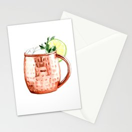 Cocktails. Moscow Mule. Watercolor Painting. Stationery Cards